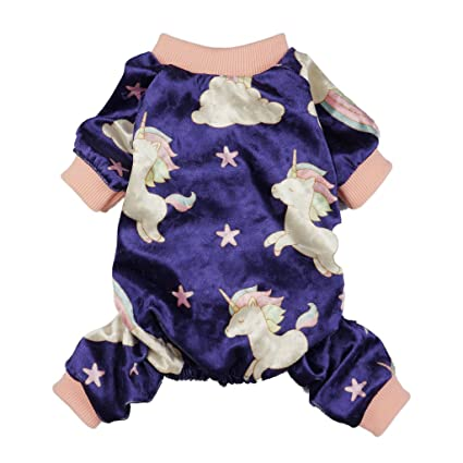 850293a93ad0 Fitwarm Fairy Unicorn Dog Pajamas Pet Clothes Jumpsuit PJS Apparel Soft  Velvet Purple Chihuahua Pomeranian Small