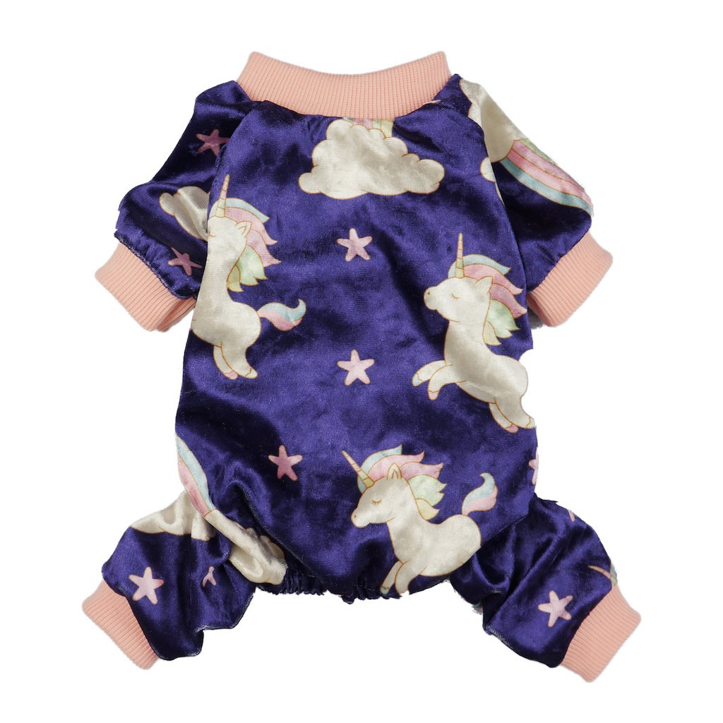 Fitwarm Fairy Unicorn Dog Pajamas Pet Clothes Jumpsuit PJS Apparel Soft Velvet Purple Small