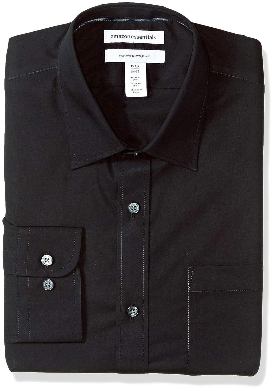 b8dc2b35bef3 Amazon.com  Amazon Essentials Men s Regular-Fit Wrinkle-Resistant  Long-Sleeve Solid Dress Shirt  Clothing