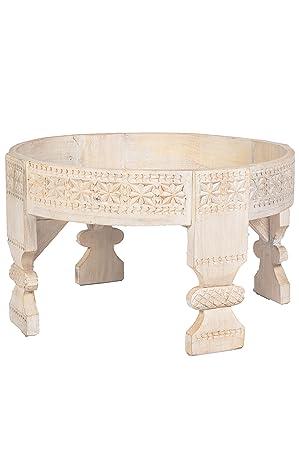 Marokkanischer Vintage Beistelltisch Hocker Aus Holz Idris