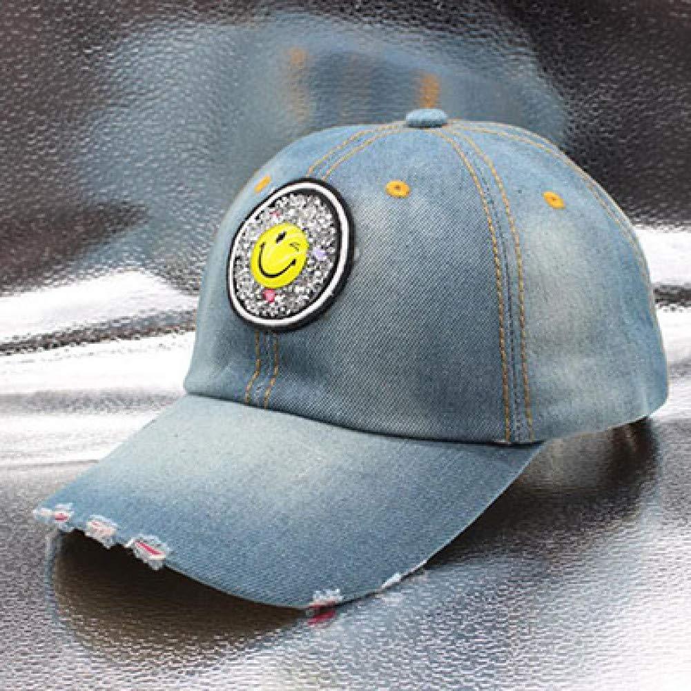 Sanjiayi Nouveau Casquette De Baseball pour Hommes Femmes Confortable R/églable Sunhat Coton Chapeau De Cowboy Strass Smiley Visage De Mode Chapeau De Soleil