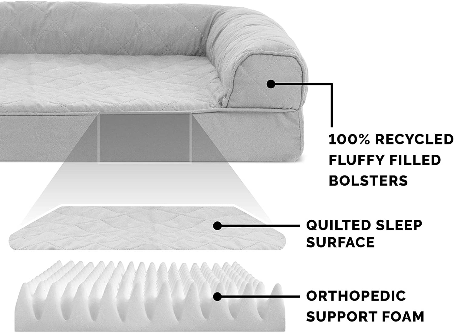 Furhaven Pet Dog Bed - Orthopedic Quilted Traditional Sofa-Style Living Room Couch Pet Bed with Removable Cover for Dogs and Cats, Silver Gray, Jumbo : Pet Supplies