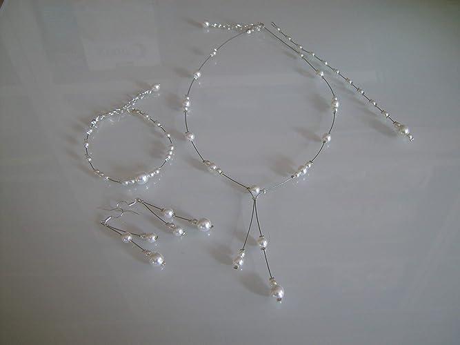 d20cc7d5ad6a4 Parure bijoux Femme Mariée Mariage Blanc (dispo Ivoire) Style perle culture  Collier Bracelet Boucles