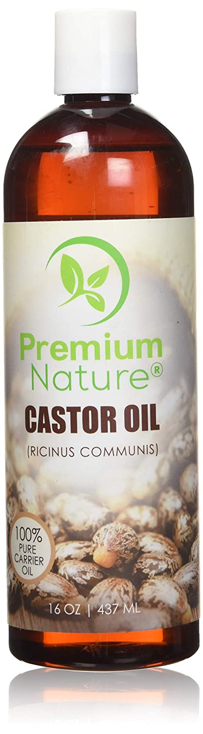 Castor Oil Pure Carrier Oil - Cold Pressed Castrol Oil for Essential Oils Mixing Natural Skin Moisturizer Body & Face Oil, Eyelashes Eyebrows Lash & Hair Growth Serum, Heals Inflamed Skin 16 oz Premium Nature Castor Oil 16 oz