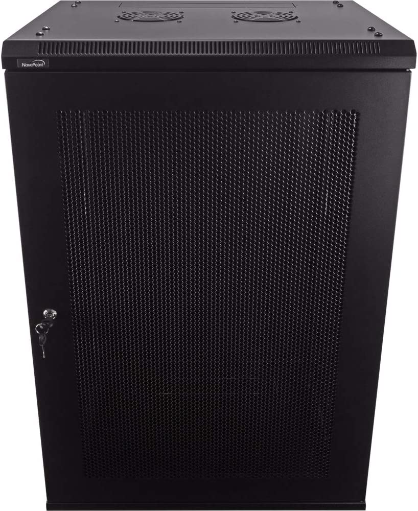 NavePoint 18U Deluxe IT Wallmount Cabinet Enclosure 19-Inch Server Network Rack with Locking Perforated Door 16-Inches Deep Black