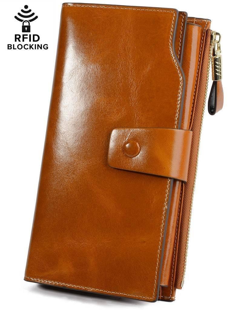 YALUXE Women's Wax Genuine Leather RFID Blocking Clutch Wallet Wallets for women brown