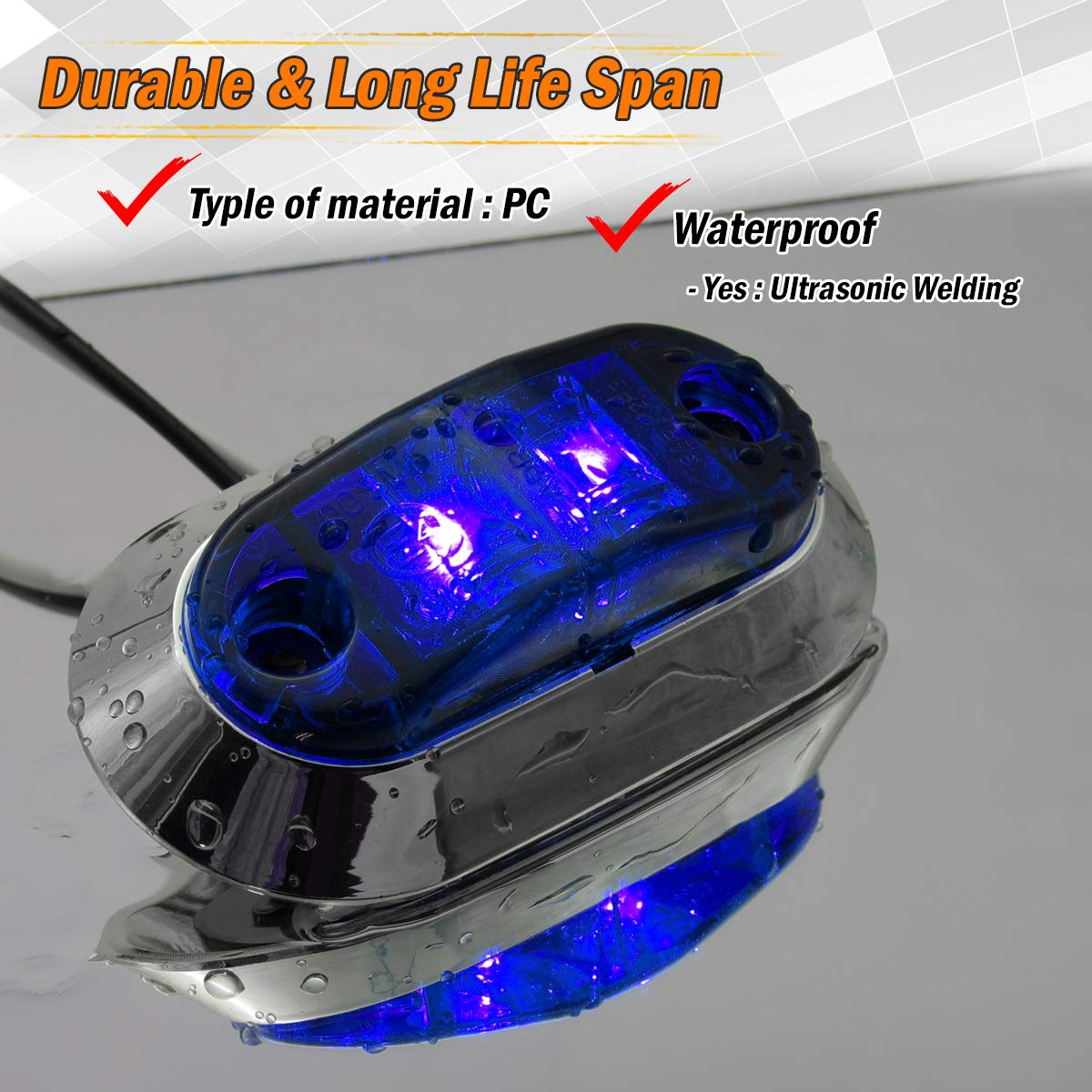 """Meerkatt 2.5/"""" Inch Oval Green LED Surface Mount Clearance Bulb Multi-Voltage w//Chrome Bezel Side Marker Lights Car Trailer Bus Lorry Truck SUV Tow Camper Jeep 10-30V DC Waterproof LM-CHS Pack of 2"""