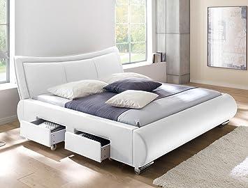 5d3169f58c Polsterbett weiß Bett 180x200 cm Kunstleder 4x Schubkasten Bettgestell  Doppelbett Designerbett Lando