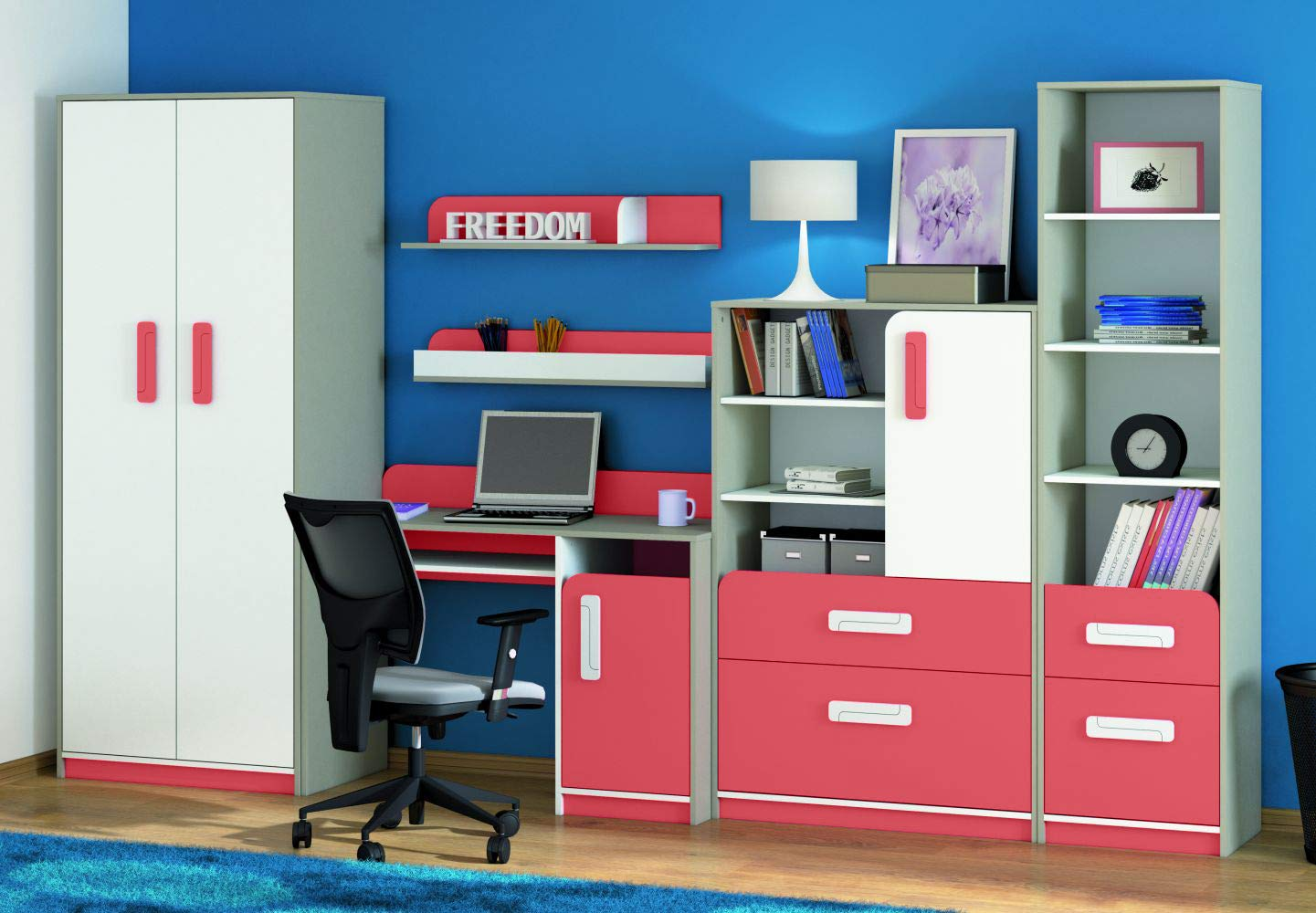 Kinderzimmer Set C Renton, 6-teilig, Farbe  Platingrau Weißszlig; Himbeerrot