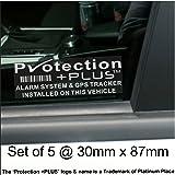 Lot de 5stickers dissuasifs système d'alarme et suivi GPS 87x 30mm