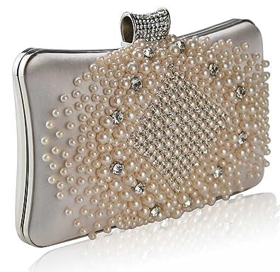 Gorgeous Champagne Beaded Pearl Rhinestone Clutch Bag  8f2f97ede984