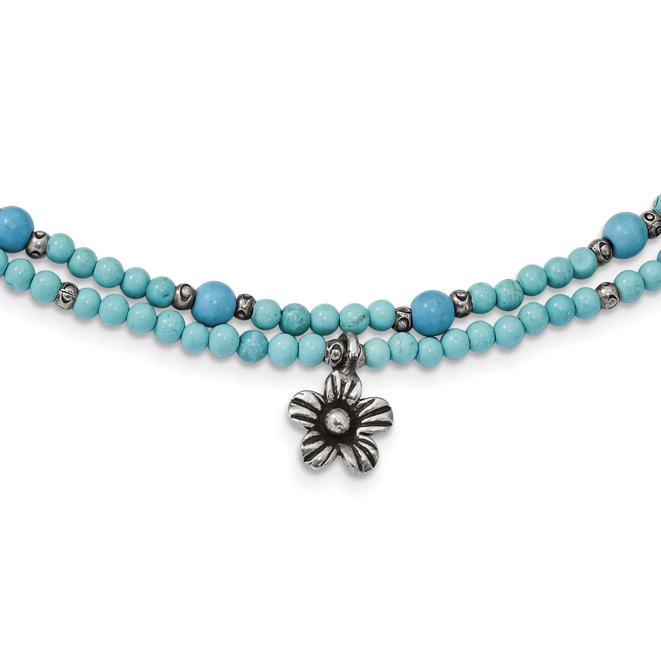 ICE CARATS 925 Sterling Silver Howlite/recon. Magnesite 2 Strand Flower Inch Extension Chain Necklace Natural Stone Fine Jewelry Gift Set For Women Heart