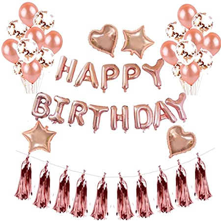 48PCS Birthday Decorations Rose Gold Party Supplies Happy Balloon Banner For 1st 30st