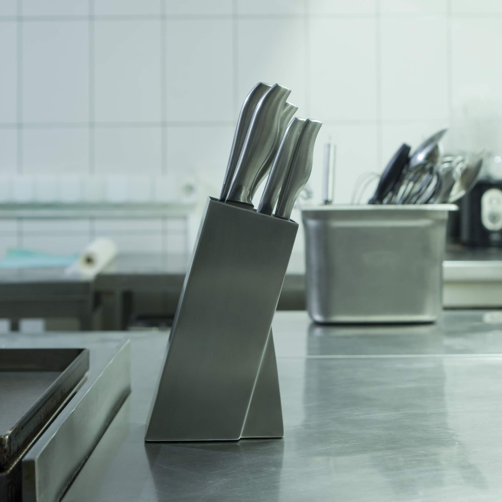 Universal Stainless Steel Knife Block Organizer – For Safe Kitchen Knife Holder Easy Clean Dishwasher Safe – Space Saver Knife Storage Stand by Leeffood (Image #7)