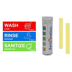 Quaternary Ammonia Testing Strips with Rinse Wash Sanitize Heavy Duty Vinyl Labels for Food Service Compliance