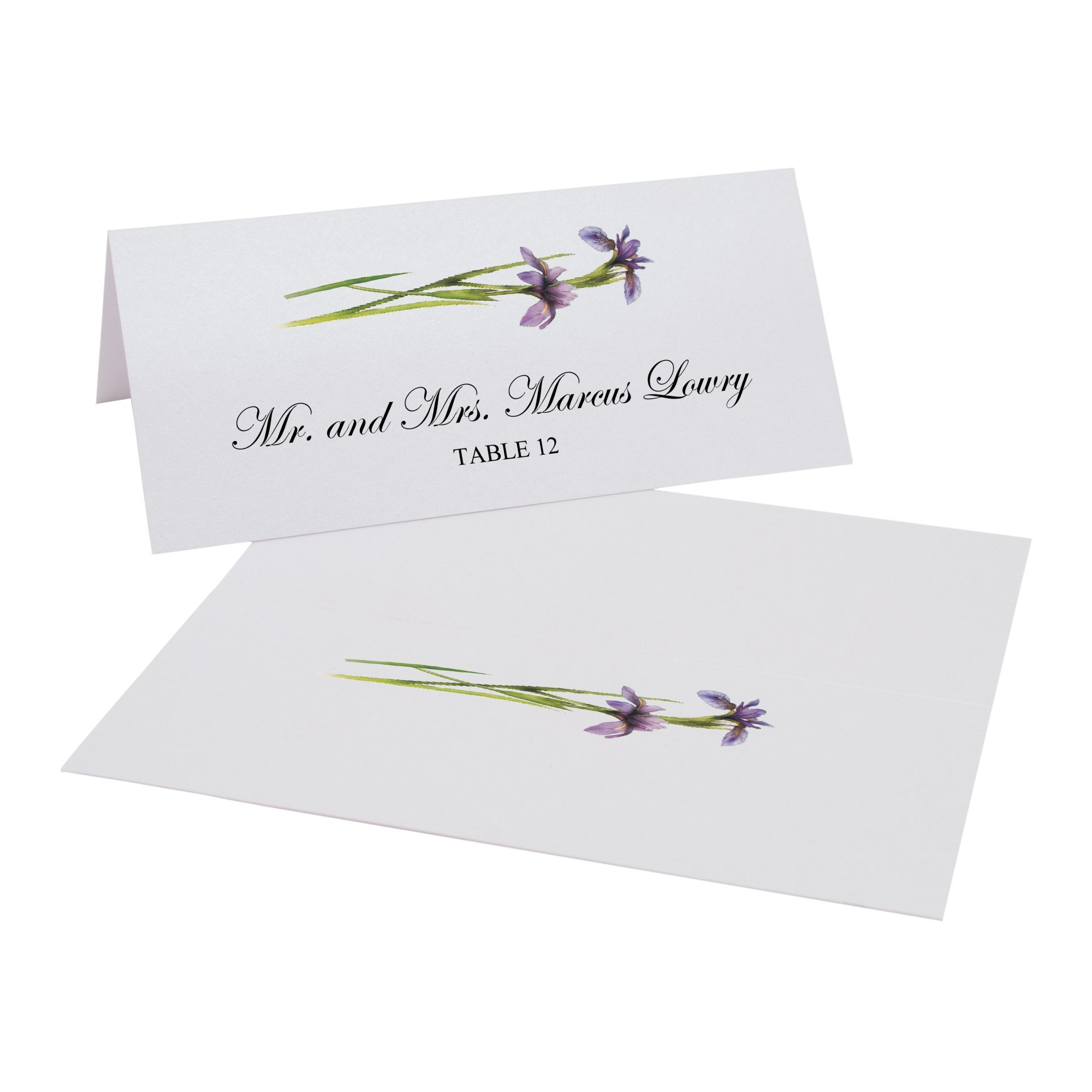 Wispy Purple Iris Flowers Easy Print Place Cards, Pearl White, Set of 450 (113 Sheets) by Documents and Designs