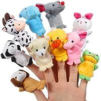 ThinkMax Finger Puppets,10 Pcs Soft Plush Animal Hand Puppet Set, Baby Story Puppet Toys (10 Pcs animals)