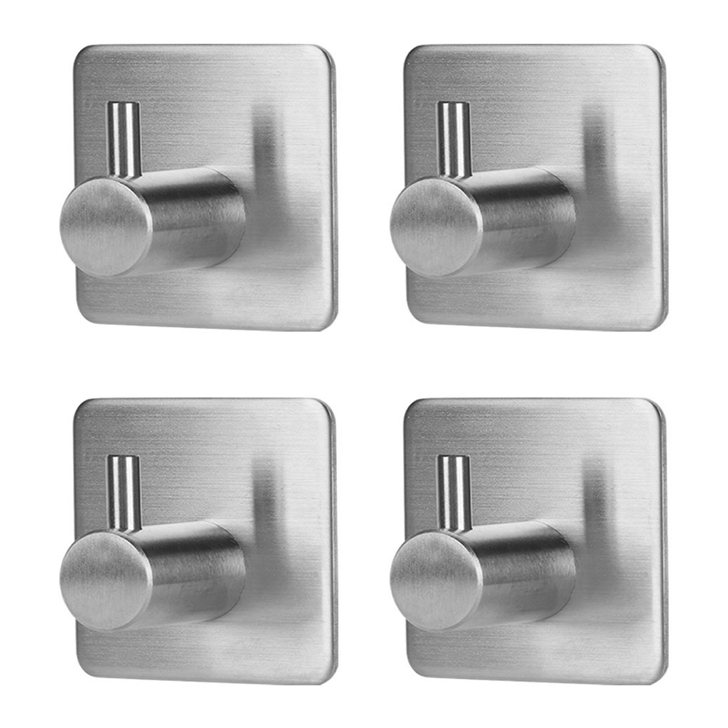 Jekoo Towel Hooks Self Adhesive, Heavy Duty Coat Hooks with Stainless Steel Ultra Strong Waterproof for Bathroom Kitchen and Garage Organizer - (4 Pack)