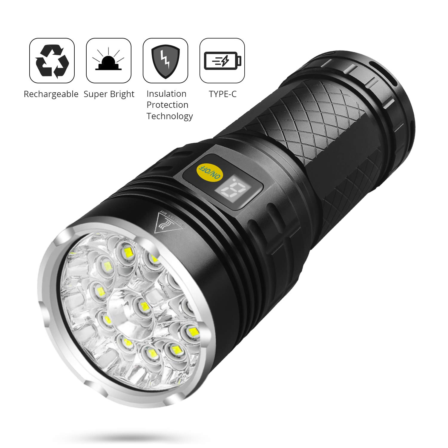 Sondiko 10000 Lumen Super Bright Led Flashlight, Rechargeable Type-C 12xLEDs 4 Modes Torch with Power Display Function&Insulation Protection Technology, Built-in Batteries by Sondiko