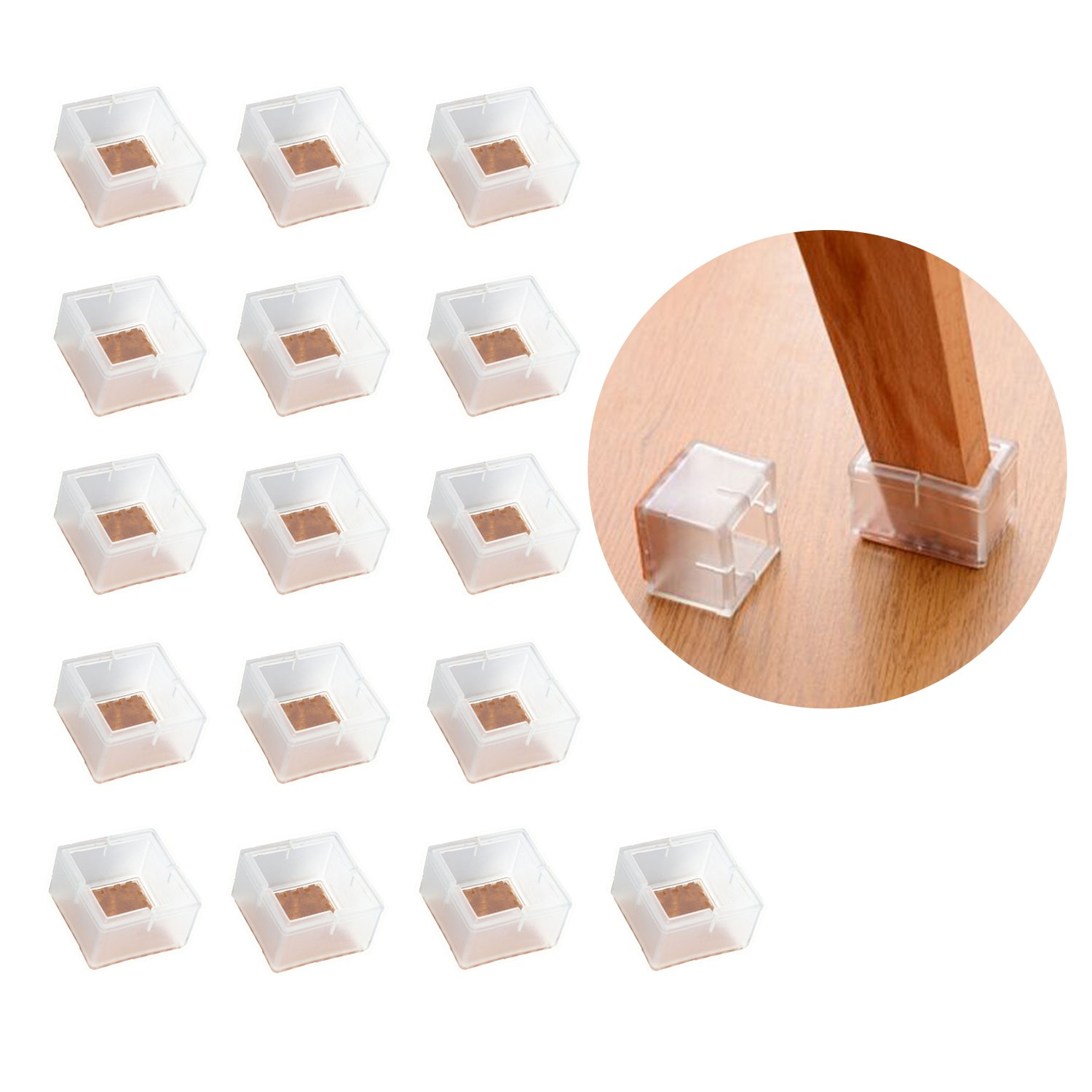16pcs Square Chair Leg Cap Feet Silicone Protector Pads Furniture Table Cover Groupcow