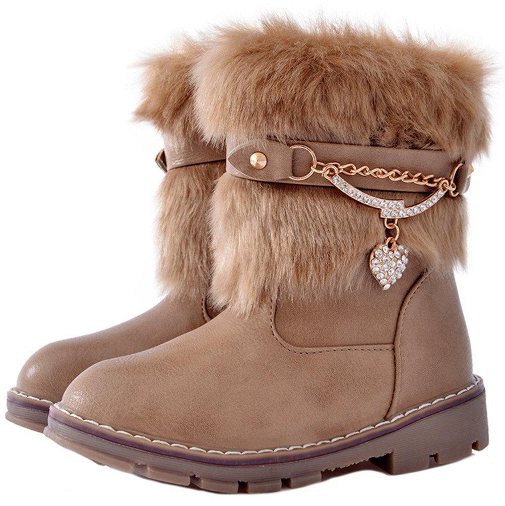DADAWEN Girls Toddler/Little Kid/Big Kid Rhinestone Side Zipper Faux Fur Lined Mid Calf Winter Snow Boots Beige US Size 12 M Little Kid