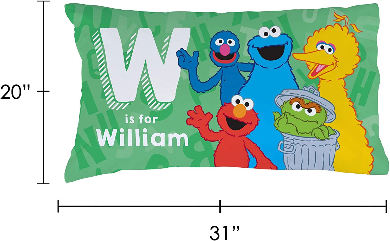 Personalized Sesame Street Pillowcase STD//Queen Official Licensed Product 20x31 Initial Name on Green Cover