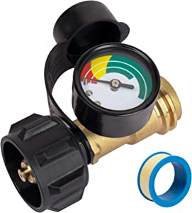X Home Propane Tank Gauge Level Indicator for 5-40lb LP Tank, Propane Gas Gauge with Type 1 Connection, Fit for RV, BBQ Gas Grill, Heater, Turkey Fryer