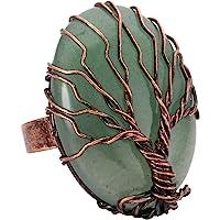 خاتم نحاسي عتيق مصنوع يدويا من توب بلازا، خاتم ملفوف بسلك نحاس على شكل شجرة الحياة، حجر كريم بيضاوي الشكل، خاتم قابل…