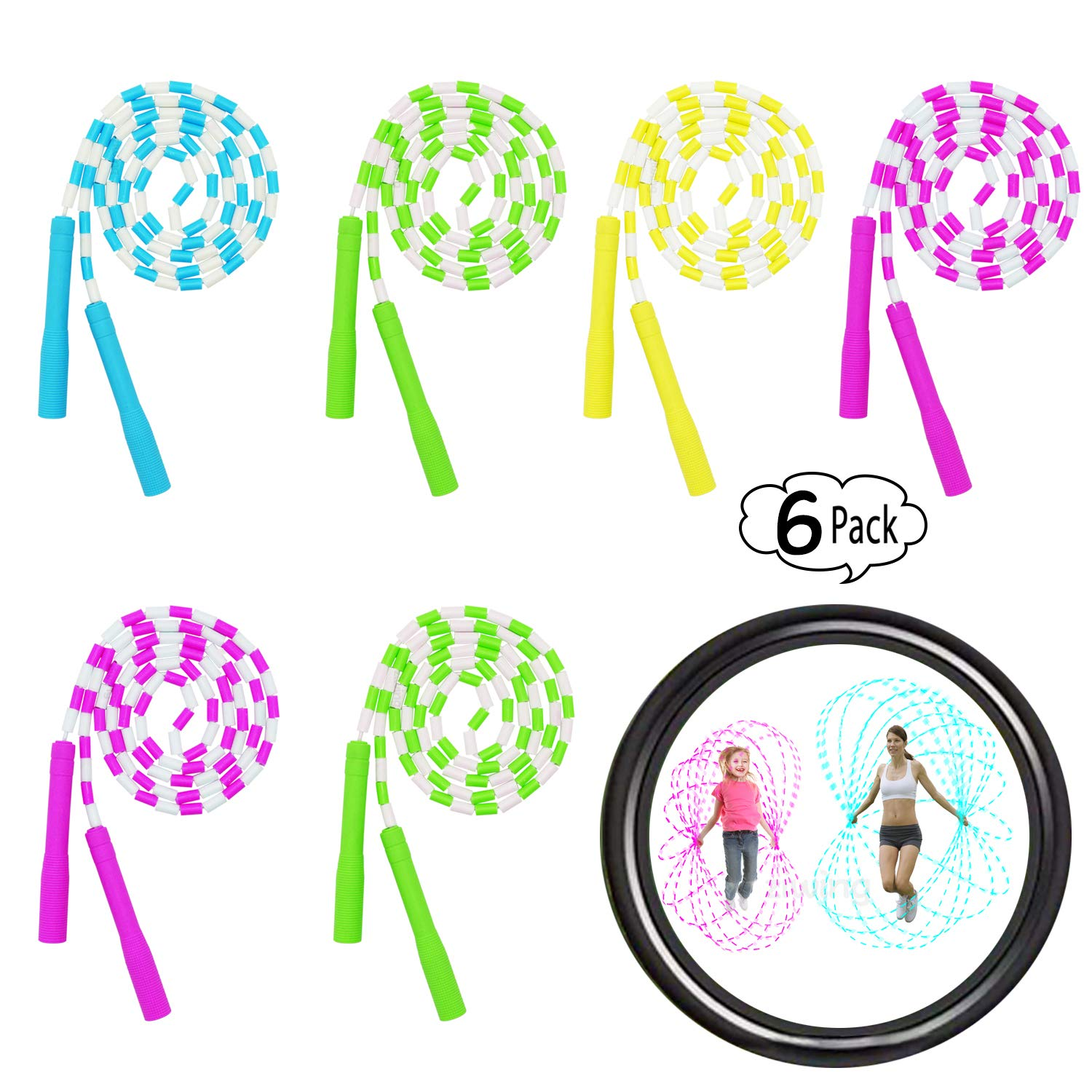 ziwing Sports Jump Ropes for Adults Men Women Kids, Adjustable Rainbow Weighted Jump Rope Workout Double Dutch with Plastic Segmentation Party Favors (6-Pack)