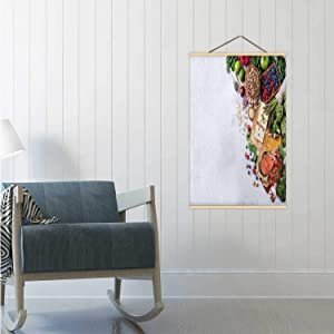Hitecera Selection Assortment of Healthy Balanced Food for Heart,Poster Frame Diet Spain Poster 24x47in(WxH)