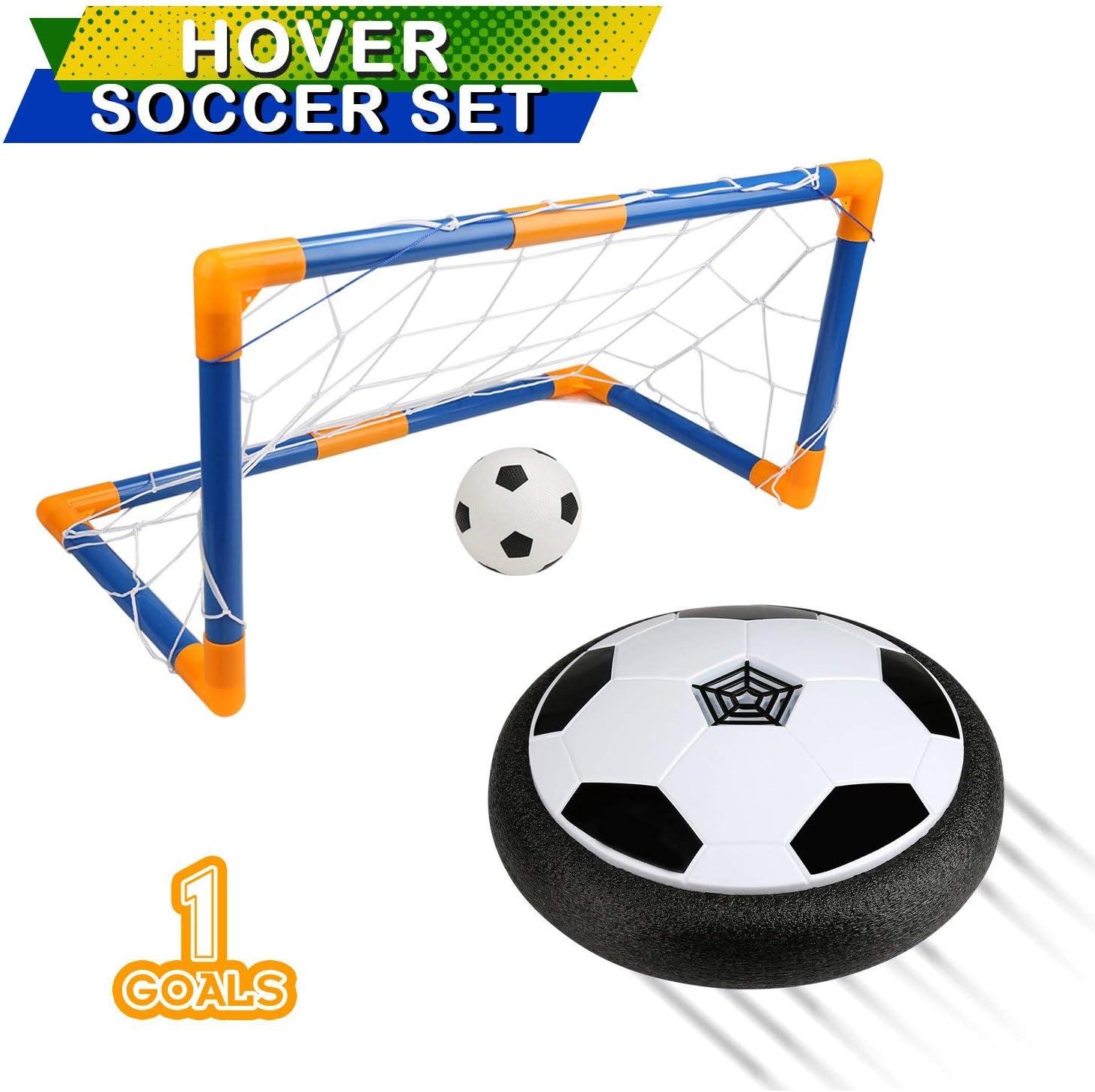 BelleStyle Air Power Soccer, Air Hover Ball Juguete Balón de Fútbol Flotante Soft Foam Bumpers con Luces LED y Música Hover Fútbol Juego Interior al Aire Libre