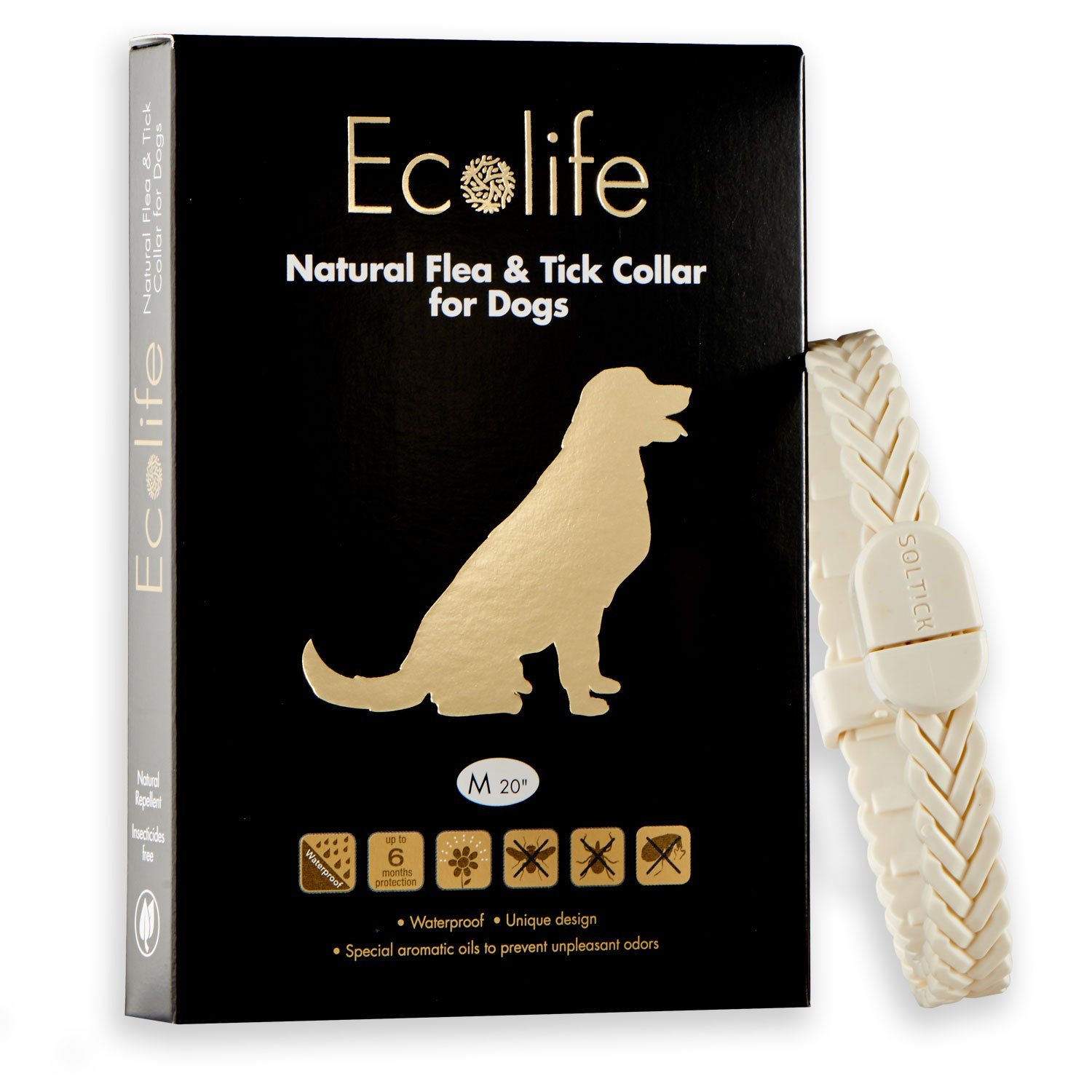 Ecolife All Natural Flea And Tick Collar For Dogs And Puppies Providing Flea and Tick Prevention For 6 Months Waterproof (Medium, White)