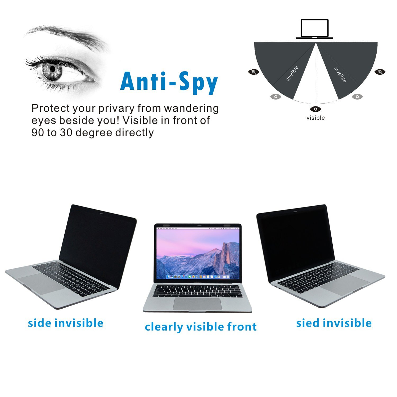 Accgonon Laptop Magnetic Privacy Screen Protectors Filter,Compatible 13-inch MacBook Pro (2016-current Version,Model:A1706A1708A1989),Anti-Glare,Anti-Spy,Scratch and UV Protection,Easy On/Off by ACCGONON (Image #2)