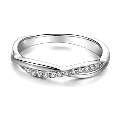 6c439cf645ce2 SILBERTALE 925 Sterling Silver Twisted CZ Stackable Half Eternity Infinity  Love Ring Wedding Band Size 5 6 7 8 9