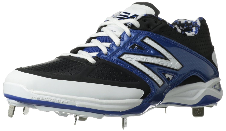 New Balance Men's L4040V3 Cleat Baseball Shoe, Black/Blue, 12.5 2E US