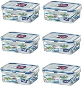 Lock & Lock No BPA Water Tight with 2 Divider Cups, Food Container, 1.5-cup, 11-oz, Pack of 6, HPL806C