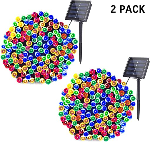 woohaha Solar Fairy String Lights Outdoor Waterproof, 2 Pack 33ft 100LED Solar Powered String Lights for Christmas Patio Home, Wedding, Party 100LED 2pcs, Multicolor