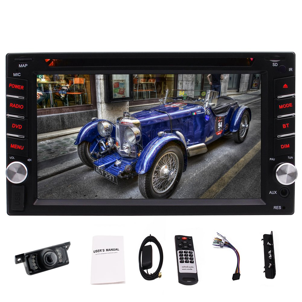 A Free Backup Camera!Wince 8.0 UI 800 MHZ Car Stereo In Dash Navigation Auto Radio Double 2 Din Player Headunit Support Bluetooth/AM/FM/RDS/1080P Video/Steering Wheel Control+8GB Free Map Card