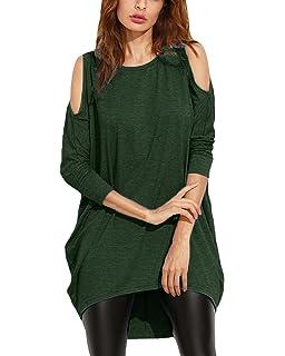 109ed5e7950 Auxo Women Cold Shoulder Tops Sexy Cut Out Shirt Slit Long Sleeve Blouse  Sweatshirt
