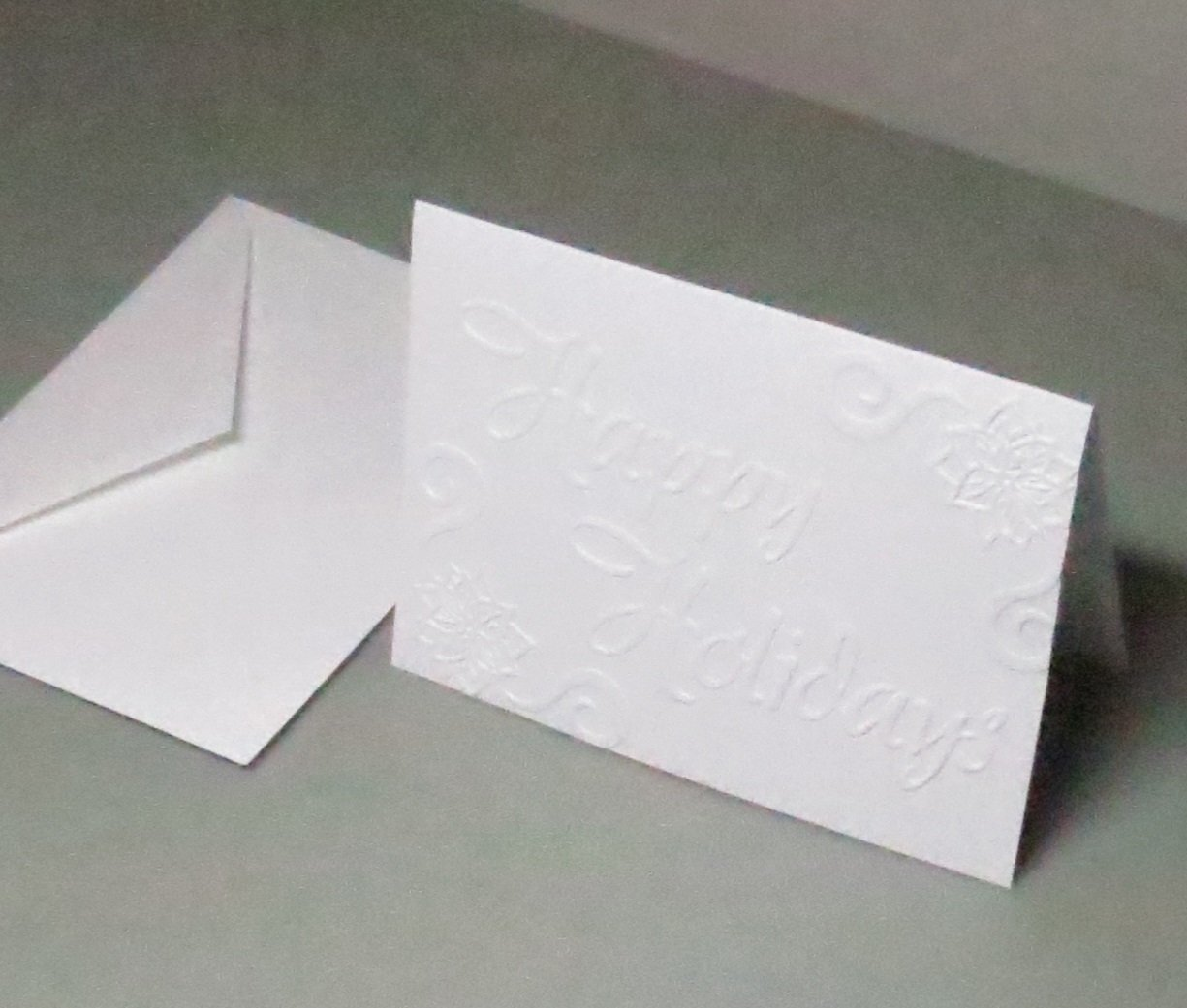 Handmade Happy Holidays Embossed Blank Christmas Note Cards from 250gsm English Pure White Matte Cardstock Set of 10 Cards /& Envelopes 4 1//8 x 5 1//2 inches