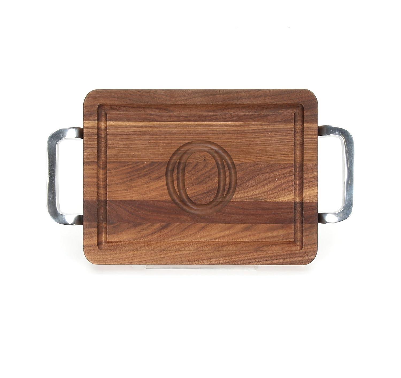 MonogrammedQ Walnut BigWood Boards W210-SPOL-Q Thick Cutting Board with Square Polished Aluminum Handle 10.5-Inch by 16-Inch by 1-Inch