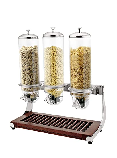 getgastro - Dispensador de cereales triple (3 x 4 litros, base de madera,