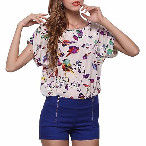 QIYUN.Z Mujeres De La Manga Corta del Verano del Roll-Up O Cuello Impresos Gasa Floja Camisetas Tops