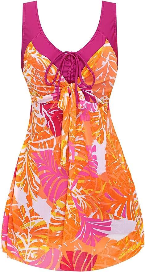 Wantdo Women's One Piece Cover up Swimsuit Dress Swimwear Beachwear Plus Size(Red,8-10)