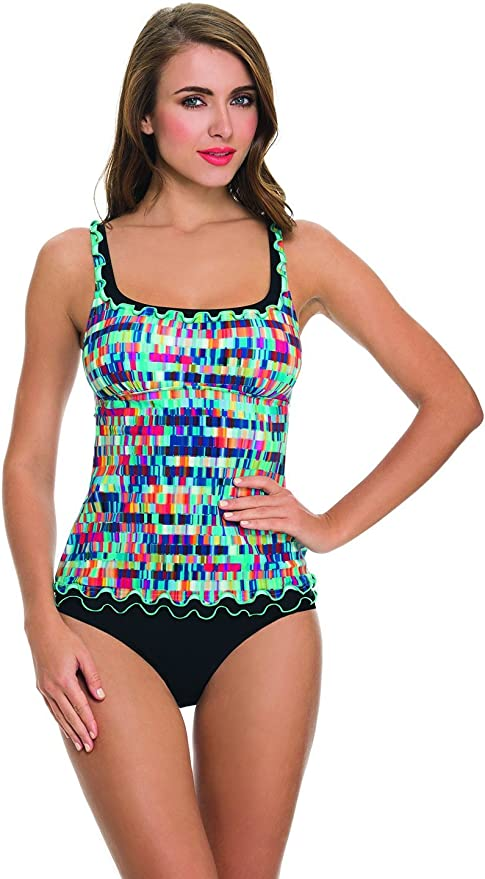 NWT $98 Profile by Gottex Blue Lagoon Flyaway Twist Tankini Top Swimsuit Women/'s