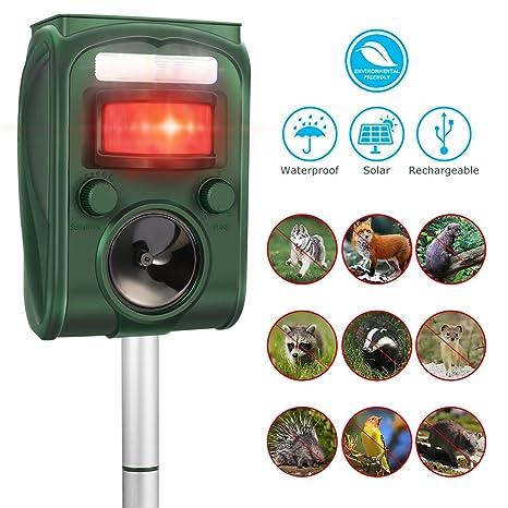 Repelente Ultrasónico,CAMTOA Repelente Animal Ultrasónico,Repelente de Energía Solar, Frecuencia de 5