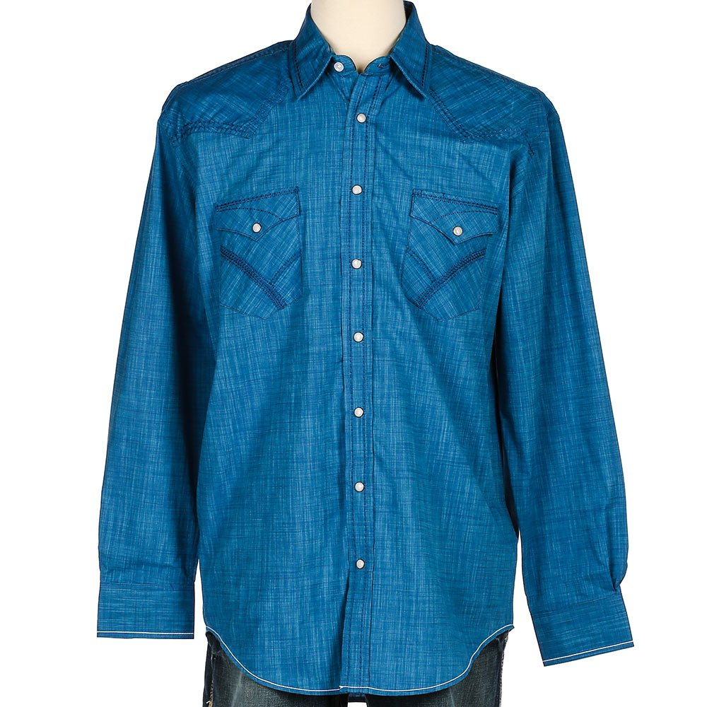 82701c40a Panhandle Rough Stock Long Sleeve Galena Vintage Solid Snap Shirt at Amazon  Men's Clothing store: