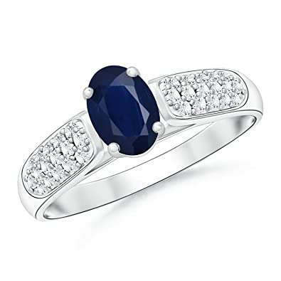 Angara Solitaire Blue Sapphire and Pave Diamond Dome Ring XAYdVz6a