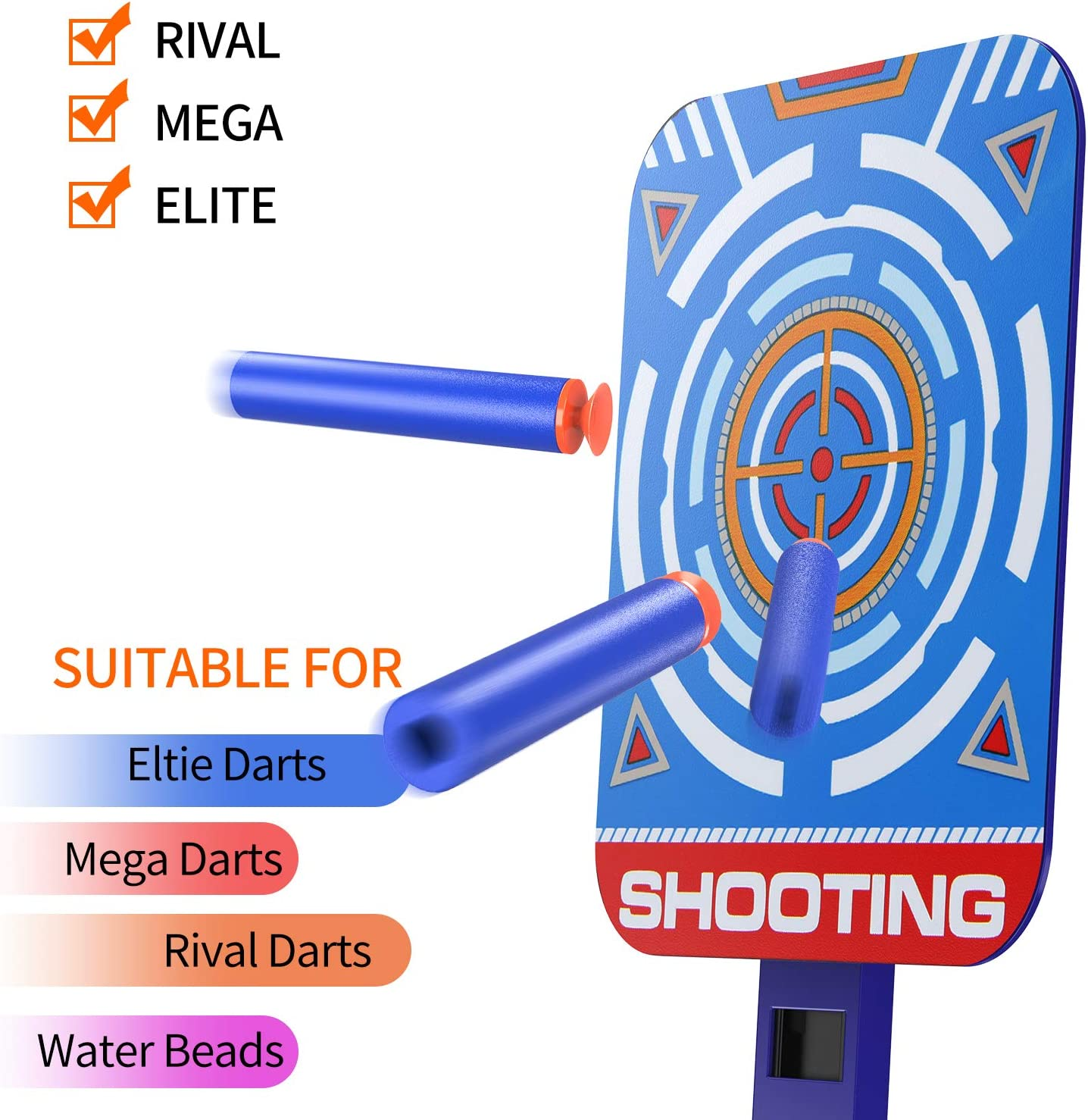 DG-Direct Upgraded Electric Scoring Auto Reset Shooting Digital Target for Nerf Guns Blaster Elite//Mega//Rival Series with 20 Pcs Refill Darts and 1 Hand Wrist Band and 1 Alternate Scoring Target.