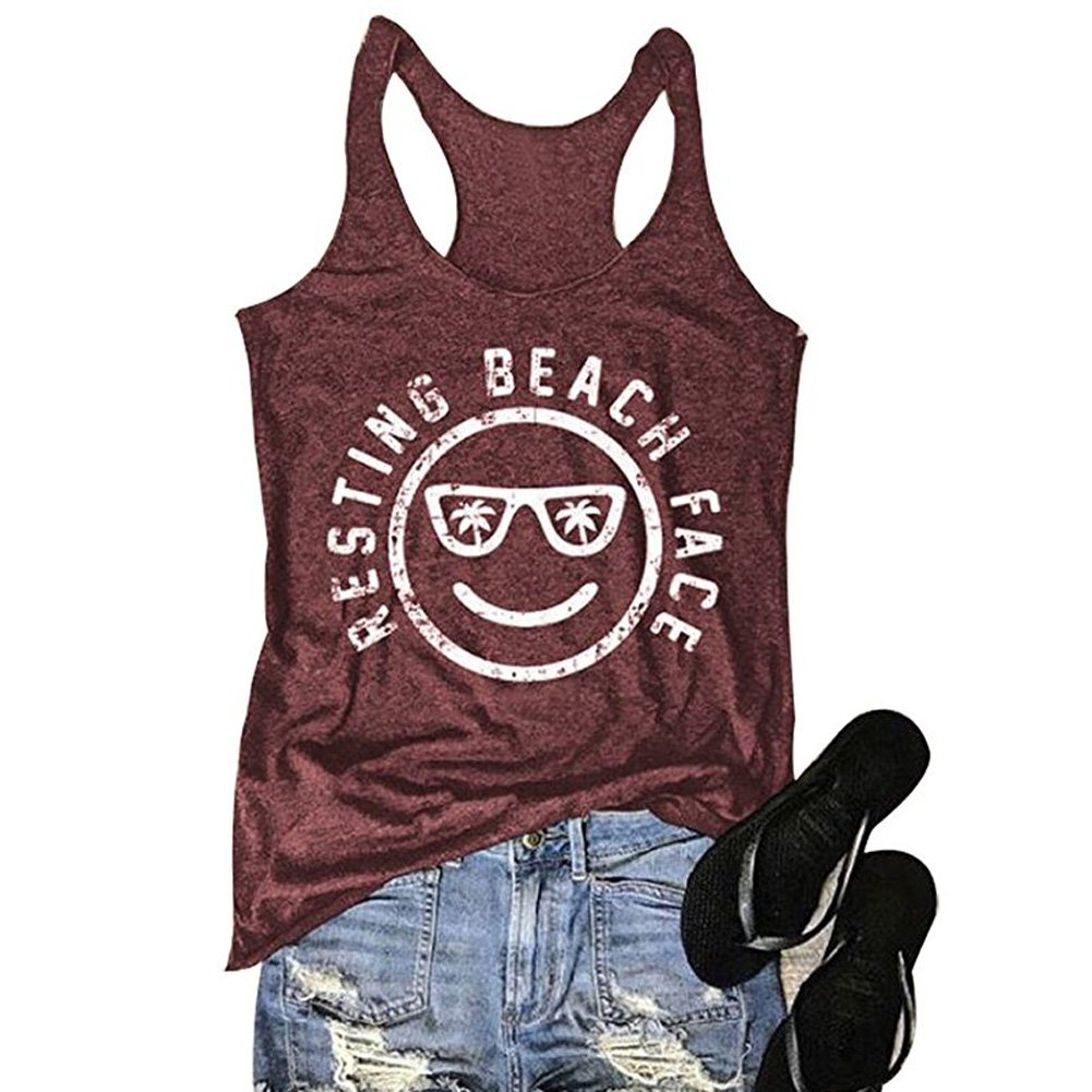 0a88791525ab97 Amazon.com  MCCKLE Women s Funny Graphic Tees Sleeveless Racerback Letters  Print Tank Top T-Shirt  Clothing